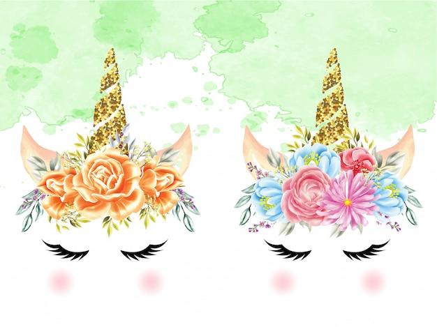 Conjunto de unicórnios de coroa floral aquarela