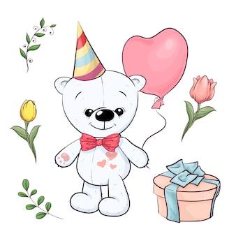 Conjunto de ursinho branco e flores. desenho à mão. ilustração vetorial