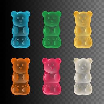 Conjunto de ursinhos de goma coloridos