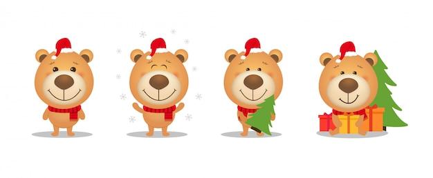 Conjunto de urso de peluche de natal bonito dos desenhos animados.