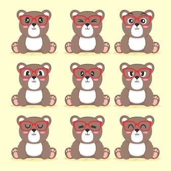 Conjunto de urso fofo com ilustração de design plano de óculos