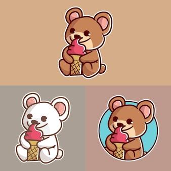 Conjunto de urso fofo com logotipo do mascote do sorvete