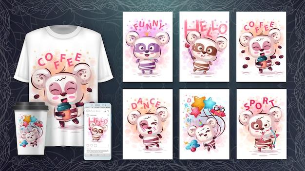 Conjunto de urso fofo desenho para cartaz e merchandising