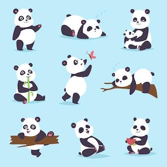 Conjunto de urso panda.