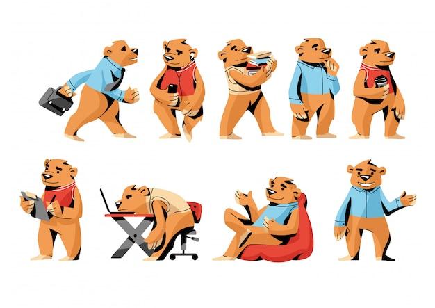 Conjunto de urso pardo de escritório, personagem engraçada em diferentes situações