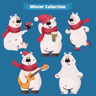 Conjunto de urso polar bonito