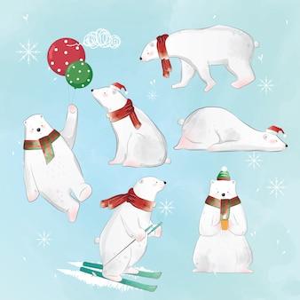 Conjunto de urso polar de natal