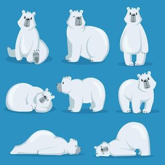 Conjunto de urso polar fofo em várias poses
