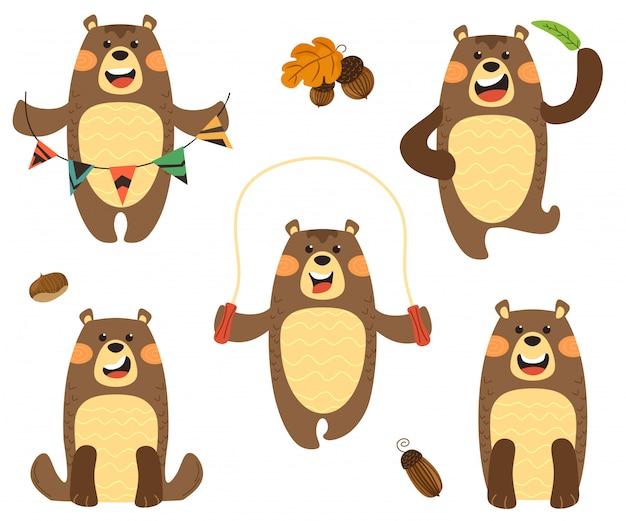 Conjunto de ursos bonitos e engraçados em diferentes variações. isola-se no estilo escandinavo dos desenhos animados sobre um fundo branco.