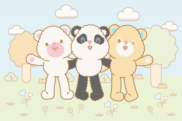 Conjunto de ursos de bebê kawaii
