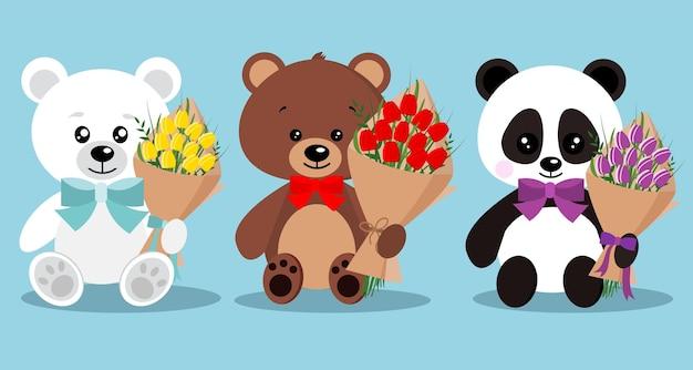 Conjunto de ursos de feriado elegante bonito isolado com gravata borboleta em pose sentada com buquê.