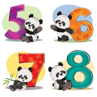 Conjunto de ursos de panda bebê fofo com números