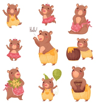 Conjunto de ursos fofos humanizados com roupas