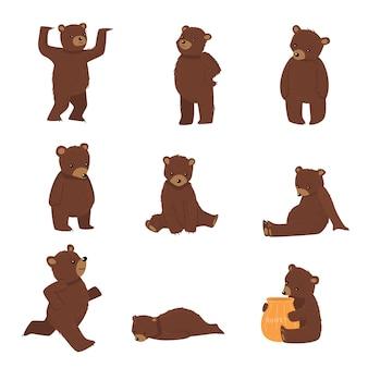 Conjunto de ursos marrons fazendo ilustração de coisas todos os dias
