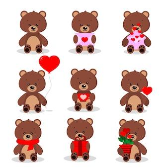 Conjunto de ursos marrons fofos em pose sentada com diferentes coisas nas patas
