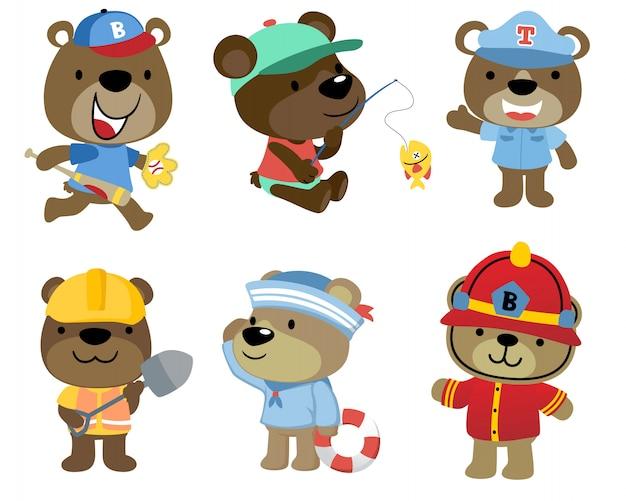 Conjunto de ursos pequenos desenhos animados