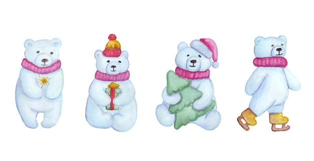 Conjunto de ursos polares em aquarela. ursos de natal