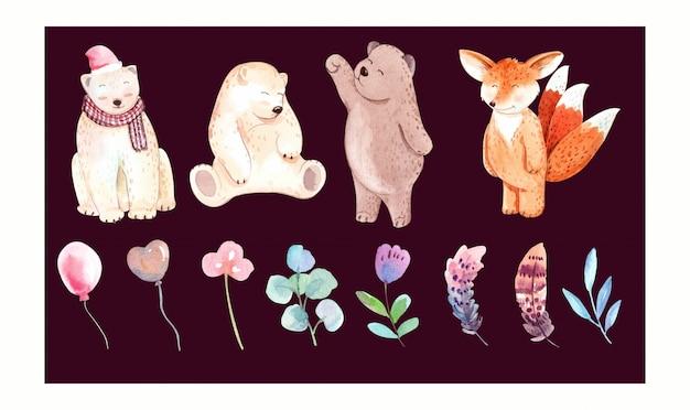 Conjunto de ursos, raposa e folhas