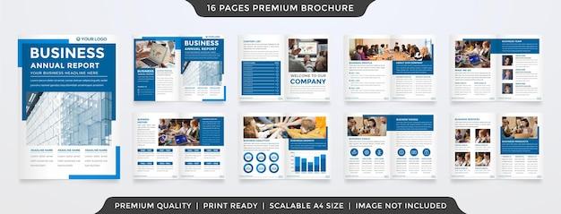 Conjunto de uso de design de modelo de folheto bifold para relatório anual de negócios e proposta