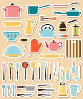 Conjunto de utensílio de cozinha e coleção de ícones de panelas