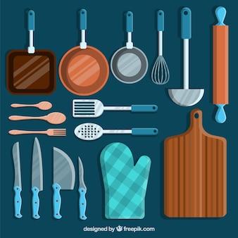 Conjunto de utensílios de chef com detalhes azuis