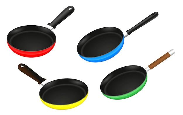 Conjunto de utensílios de cozinha de frigideira realista isolado