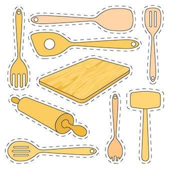 Conjunto de utensílios de cozinha de madeira de adesivos.