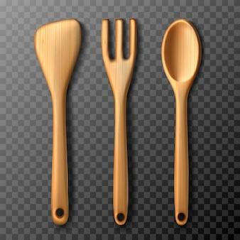 Conjunto de utensílios de cozinha de madeira rústica de garfo, colher e espátula. isolado em fundo transparente