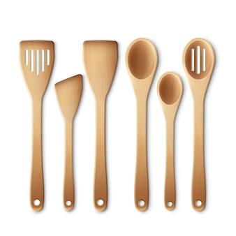 Conjunto de utensílios de cozinha de madeira