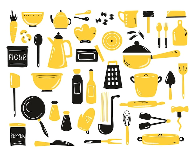 Conjunto de utensílios de cozinha de mão desenhada, equipamentos. coleção de rabiscos de cozinha.