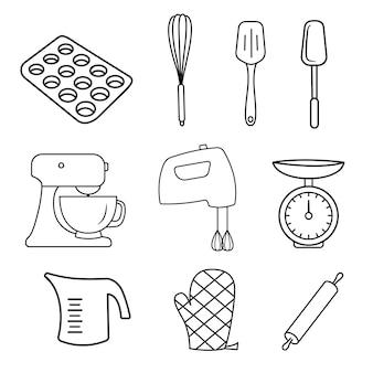 Conjunto de utensílios de cozinha de padaria.