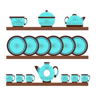 Conjunto de utensílios de cozinha em cerâmica. utensílios em prateleiras de madeira. ilustração vetorial.