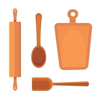 Conjunto de utensílios de cozinha. estilo de utensílios de cozinha. cozinhar objetos de equipamentos.