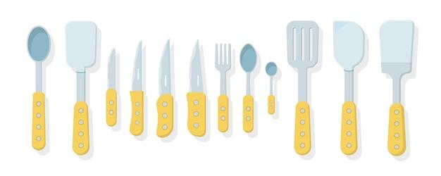 Conjunto de utensílios de cozinha, isolado em um fundo branco. ícones em estilo simples. muitos utensílios de cozinha de madeira, utensílios, talheres. coleção de utensílios de cozinha.