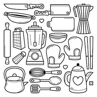 Conjunto de utensílios de cozinha mão desenhadas doodles