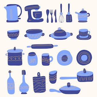 Conjunto de utensílios de cozinha para cozinhar em casa e ferramentas no estilo doodle.