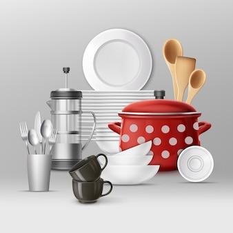 Conjunto de utensílios de cozinha. pratos e utensílios de cozinha