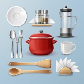Conjunto de utensílios de cozinha: pratos, talheres e utensílios