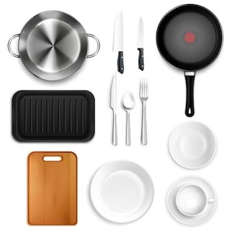 Conjunto de utensílios de cozinha realista