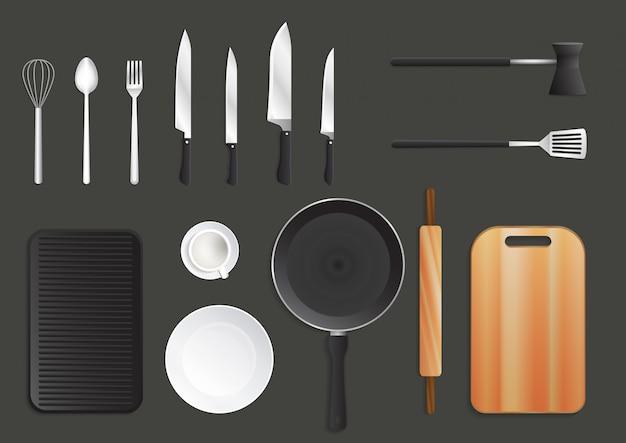 Conjunto de utensílios de cozinha realista.