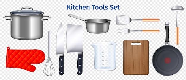 Conjunto de utensílios de cozinha transparente