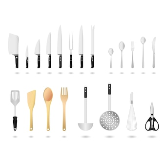 Conjunto de utensílios de cozinha. um conjunto de utensílios de cozinha em.