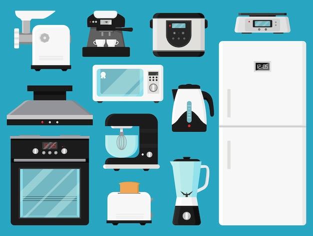 Conjunto de utensílios de cozinha.