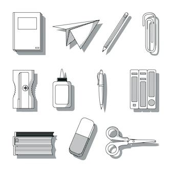 Conjunto de utensílios de escola desenha