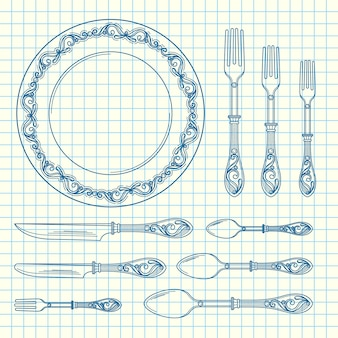 Conjunto de utensílios de mesa de mão desenhada na ilustração de folha de célula