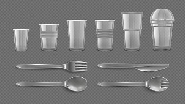 Conjunto de utensílios de mesa descartáveis realistas