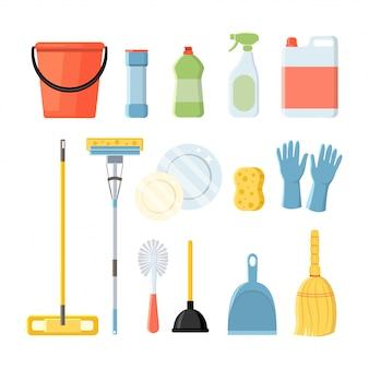Conjunto de utensílios domésticos de limpeza, ilustração em estilo simples, isolado no branco