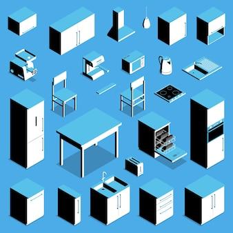Conjunto de utensílios e móveis de cozinha isométricos