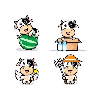 Conjunto de vaca fofa com diferentes poses. ilustração de personagem animal