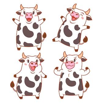 Conjunto de vacas bonito dos desenhos animados em poses diferentes.